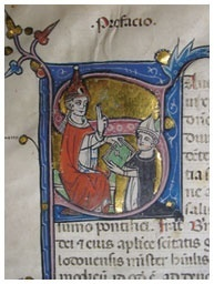 Bernard Gui presenting his manuscript to Pope John XXII. PIMS Bergendal MS 1, fol 1r © Pontifical Institute of Mediaeval Studies