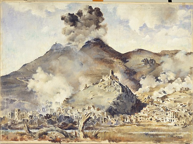 Painting by Peter McIntyre, a New Zealand soldier and official war artist who was an eyewitness to the 1944 bombing of Cassino